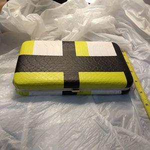 NWT Merona clutch wallet green-yellow, black